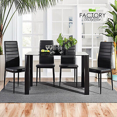 5 Piece Dining Table Set Modern Black Tempered Glass 4 Leather Chairs Kitchen