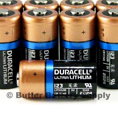 10 x 123 Duracell 3V Ultra Lithium Batteries (CR123, DL123, Security, Photo)
