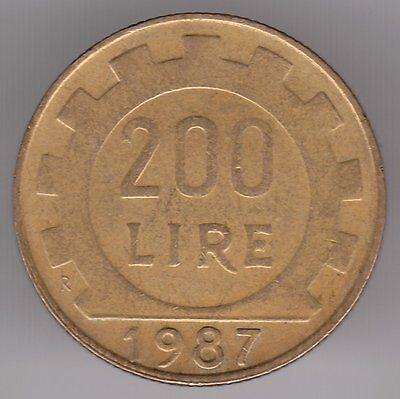 Italy 1987 200 Lire Aluminum-Bronze Coin