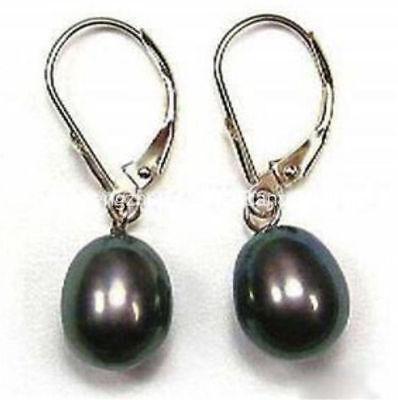 Black Pearl Dangle Earrings - Pretty 8-9mm Real Akoya Cultured Black Pearl Dangle Leverback Earrings