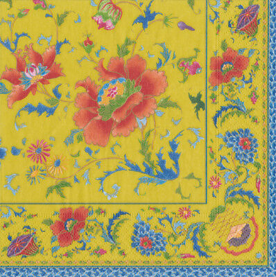 Chinese ceramic imperial yellow Caspari Paper Lunch Napkins 33cm sq 20 pack