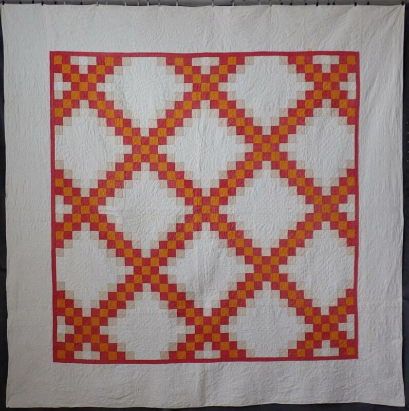 Wonderful Color & Quilting! Antique 1880s Cheddar & Red Irish Chain Quilt 77x77