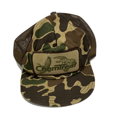 Vintage 80s Chemtreat Duck Camouflage Hunting Mesh Truckers Hat Made In USA