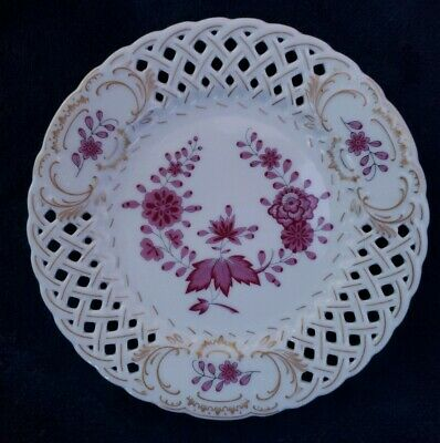Leaf Wall Plate (Hutschenreuther German 1814 Reticulated Plate Wall Hanging Pink Flower Gold Leaf)