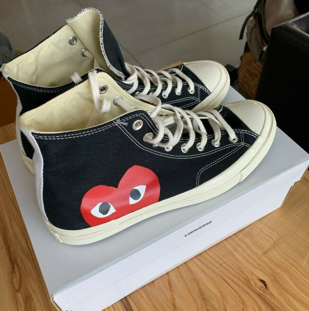 Converse X Comme Des Garcons PLAY – HI TOP – Black Size: 11- Lightly used