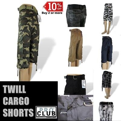 PRO CLUB CARGO SHORTS MEN PROCLUB CAMO COMBAT BDU SHORT LONG LENGTH BIG AND TALL ()