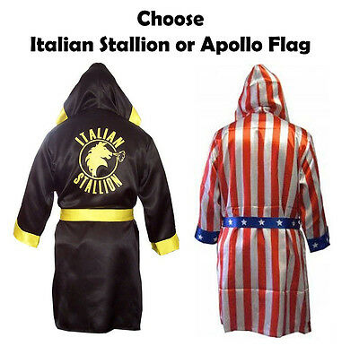 Adult Movie Rocky Balboa American Flag OR Italian Stallion Boxing Costume Robe