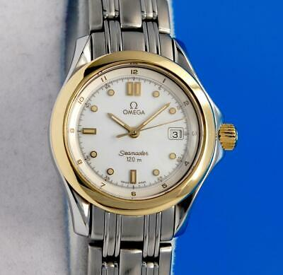 Ladies Omega Seamaster 18K Gold & SS Watch - White Dial - 28MM Version
