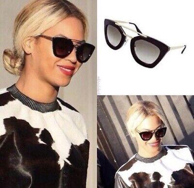 Prada $398 Beyonce Black And Gold Cat Eye Sunglasses