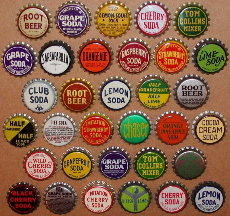 Vintage soda pop bottle caps GENERIC FLAVORS Collection of 33 different unused