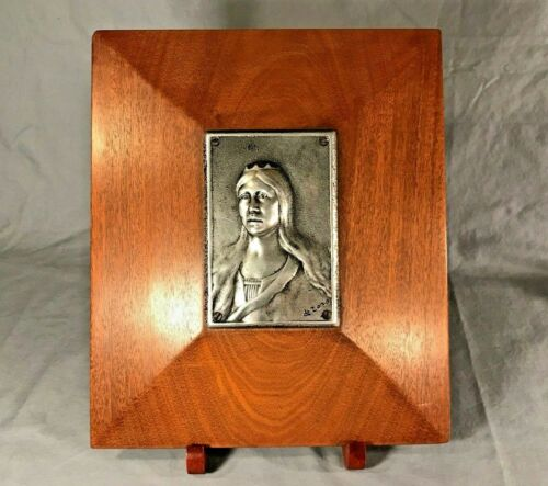 Celtic Queen Bust - Metal on Teak Mid Century Woman Wall Art - Signed De Zozo