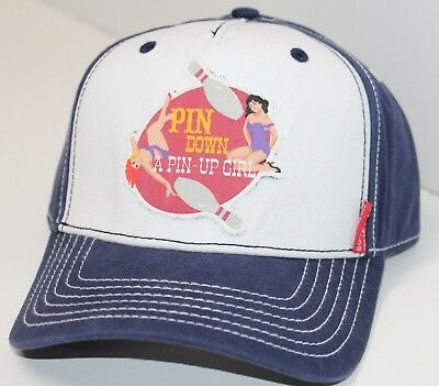 """Pin Down a Pinup Girl"" Bowling 10 Pins Hat Bowlmor Lanes cotton Cap Adjustable"