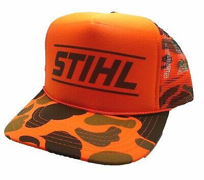 Vintage Stihl Chainsaws Hat trucker hat snap back Orange Camouflage hunting cap  Orange Camouflage Cap