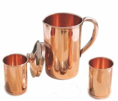 (Ayurvedic Pure Copper Water Pitcher Jug Set with 2 Water Glasses)