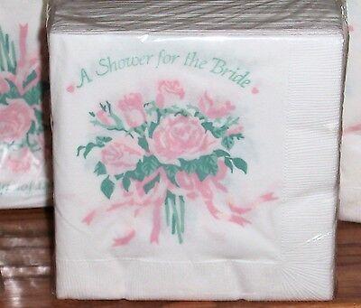 Vintage 50 Bridal Shower Pink Roses Paper 3-ply Beverage Luncheon Napkins NOS