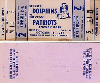 1967 2ND YR - MIAMI DOLPHINS @ BOSTON PATRIOTS FULL TICKET STUB EARLY AFL