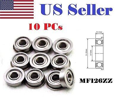 10 Pcs Mf126zz 6x12x4 Mm Metal Shielded Flanged Ball Bearing Mf126zz