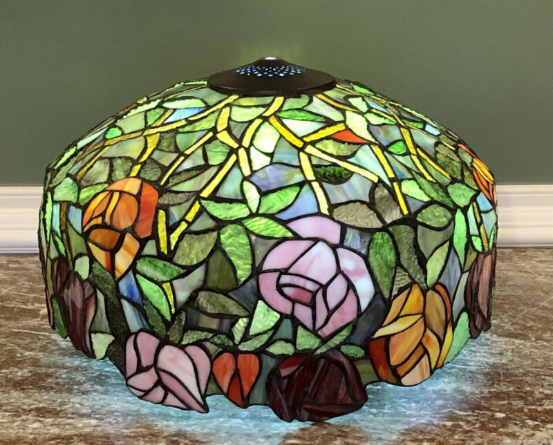 """Tiffany Style Stained Glass Roses-Leaves Scalloped Edge Lamp Shade 18"""" x 11 1/2"""""""