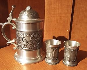 Pewter German Beer Stein and cups