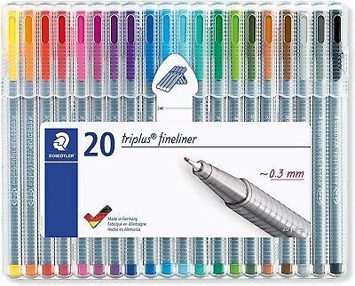 Staedtler Triplus Fineliner Pens .3mm Metal Clad Tip 19-pack Assorted 334sb