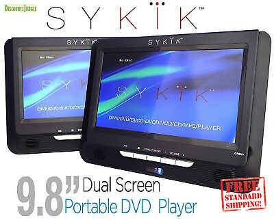 "Sykik SYDVD296 9.8"" Dual screen portable DVD player USB SD rechargeable battery"
