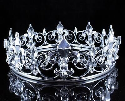 BOY'S TEEN KING METAL CROWN CLEAR AUSTRIAN RHINESTONE THEATER PARTY C89 SILVER (Metal King Crown)