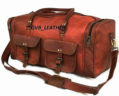 Vintage Weekend Luggage Overnight best gift Leather Duffle Genuine Travel