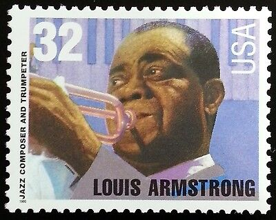 1995 32C LOUIS ARMSTRONG, JAZZ & TRUMPET SCOTT 2982 MINT F/VF NH