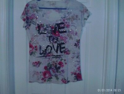 Day Trip Floral Shirt (Womens Multicolored Studded Floral Studded Top/Shirt Size XS By Day)