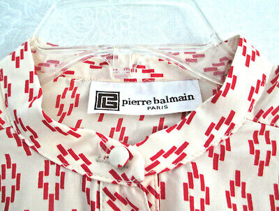 Vtg PIERRE BALMAIN Designer DRESS Ivory Silk Red Geometric Print MOD Women M
