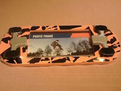 """Surfboard Shaped Picture Frame~Orange Tiger Stripes~Fits 3½ x 6"""" Photo Vintage"""