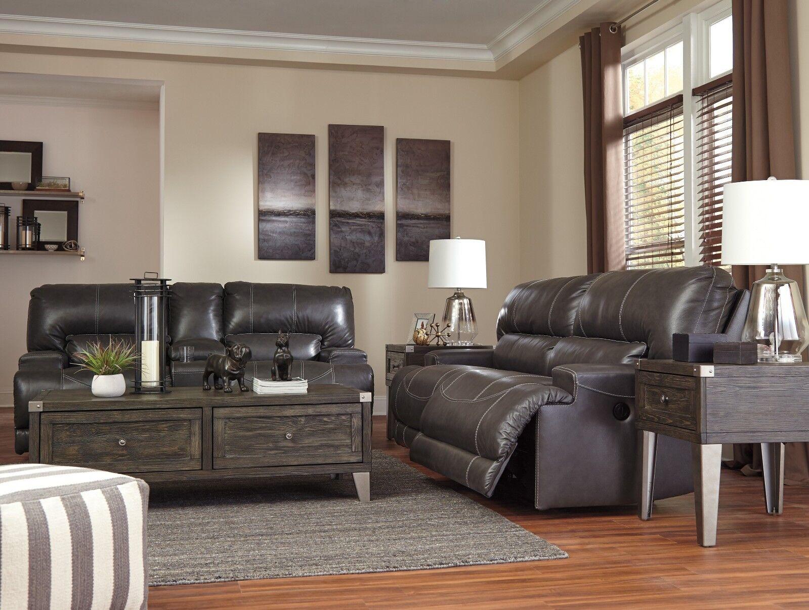 Ashley Furniture Lenoris Leather Reclining Sofa In Coffee For Sale Online Ebay