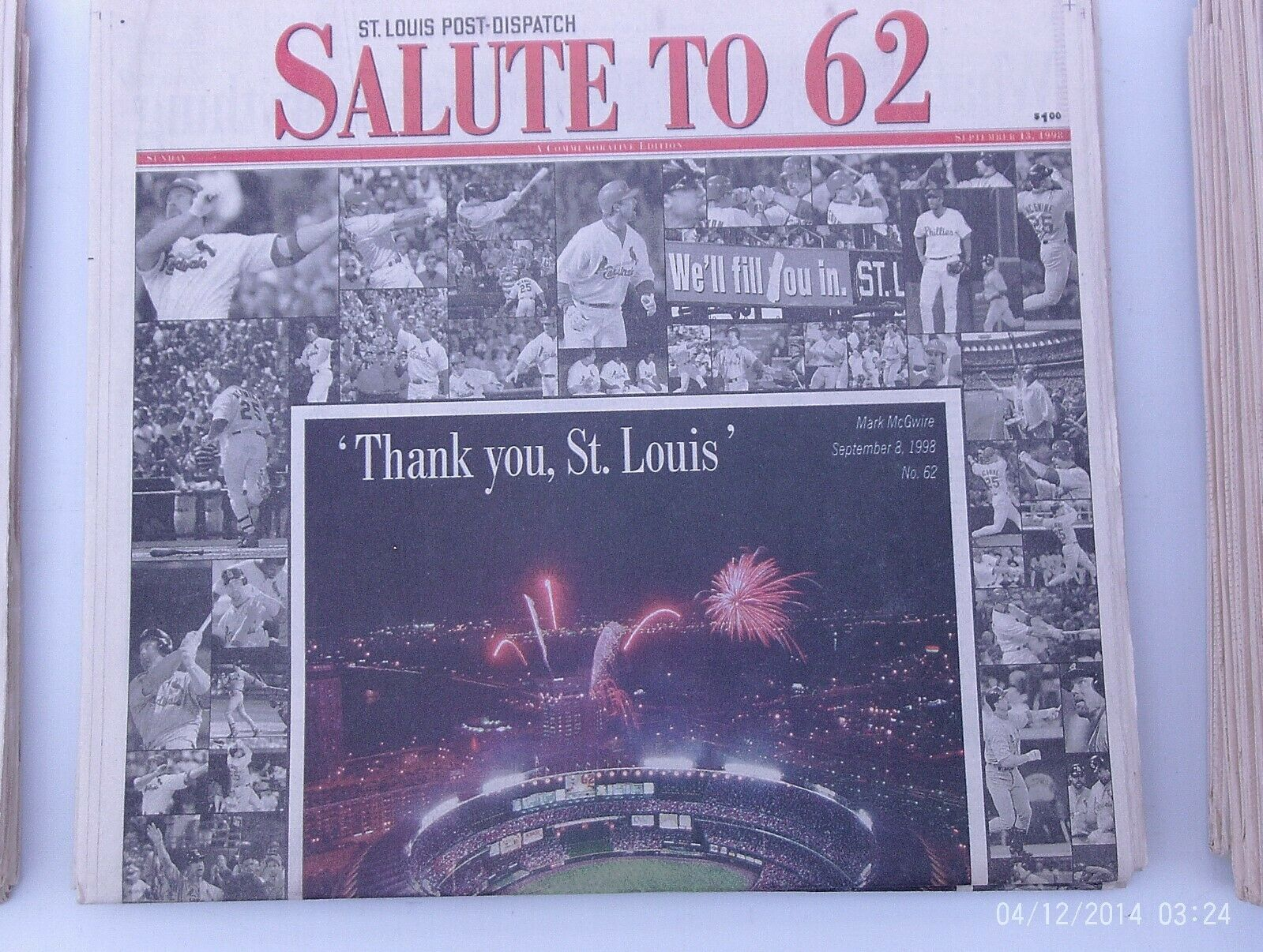 Mark McGwire Newspapers 3 Different Papers All St. Louis Post Dispatch 17 Items - $27.00
