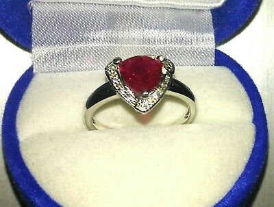 7 MM Trillion Cut Created Ruby Ringwith CZ, Size 7, Beautiful, New, 3.27 -