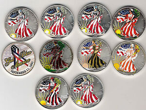 20X AMERICAN EAGLE PURE SILVER .999 COINS UNC CONDITION 1 OZ COLORISED