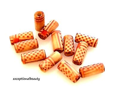 60 Wood 12x5mm Painted Print Pattern Tube Cylinder Craft Wooden Brown Red Beads