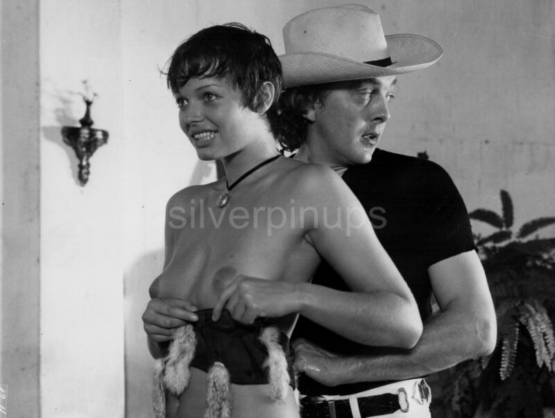 "Orig 1974 Busty and Topless, ANDREA RAU - DAVID HEMMINGS Candid on-set.. ""LOLA"""