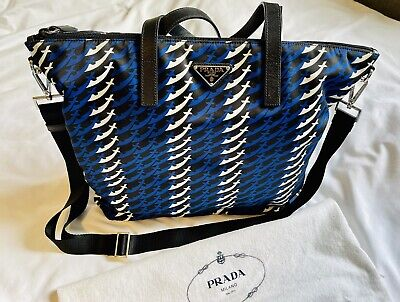 Authentic Nwt Prada Tote Bag Spade & Sword Pattern Blue Nylon/canvas Leather