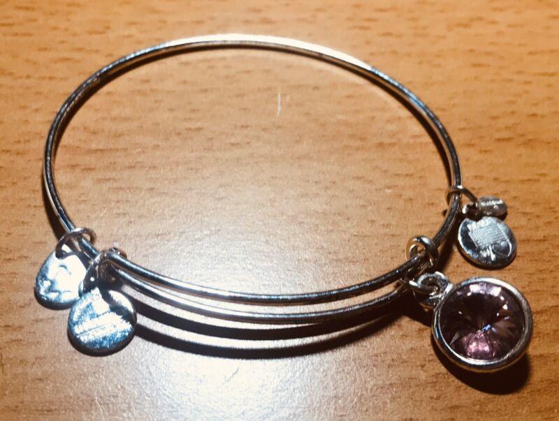 Alex and Ani Silver Pink Crystal Bracelet