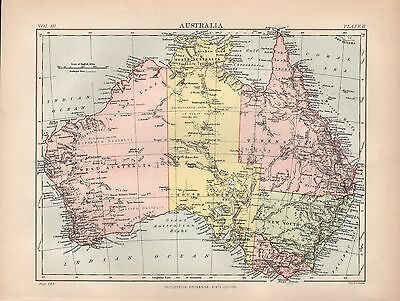 1880 ca ANTIQUE MAP-AUSTRALIA