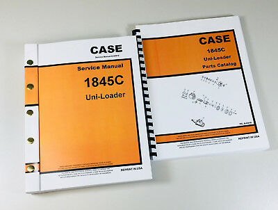 Case 1845c Uni Loader Skid Steer Service Manual Parts Catalog Repair Shop Books