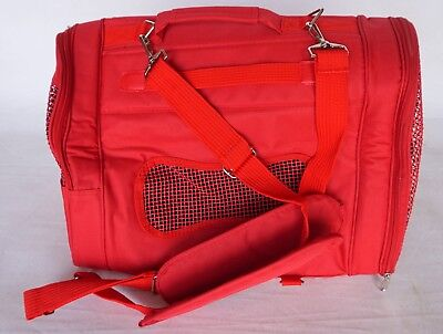 "Collapsible RED Nylon Zip Up Small Dog/Cat Carrier 17""x13""x9.5"" w/ Windows"