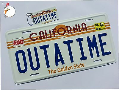 Back to the Future / Delorean / OUTATIME *EMBOSSED* license plate with KEY - Back To Future
