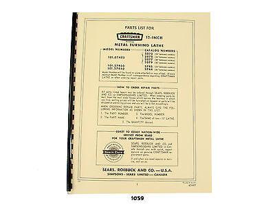 Sears Craftsman 12 Metal Lathe 101.07403 101.27430 101.27440 Parts List 1059