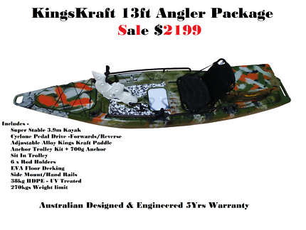 13ft Pedal Kayak *Kings Kraft Angler Sale $2199 * 5Yrs Warranty