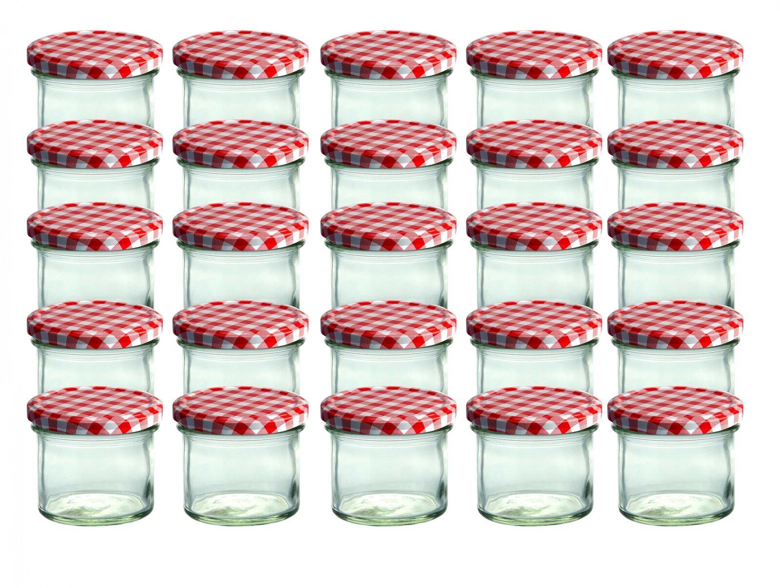 CapCro 25 Sturzgläser 125ml Marmeladenglas Einmachglas Einweckglas roter Deckel