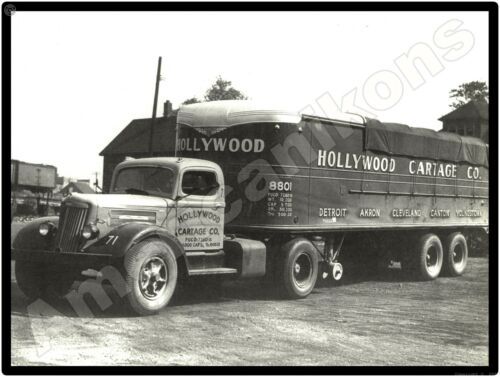 White Trucks New Metal Sign: White Tractor Trailer - Hollywood Cartage Company