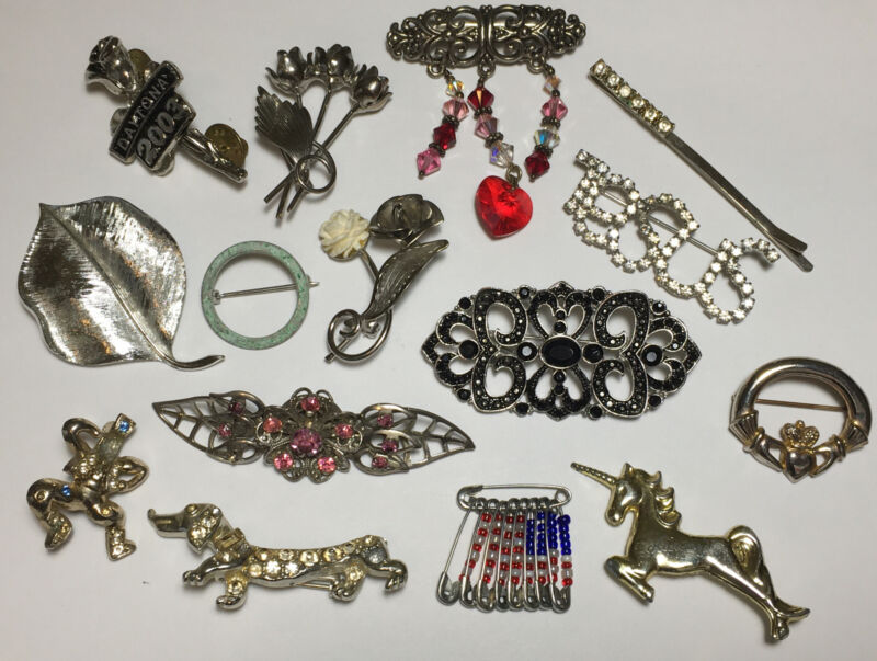 Vintage Gold Silver Brooches Junk Drawer Jewelry Accessory & Miscellaneous Pin
