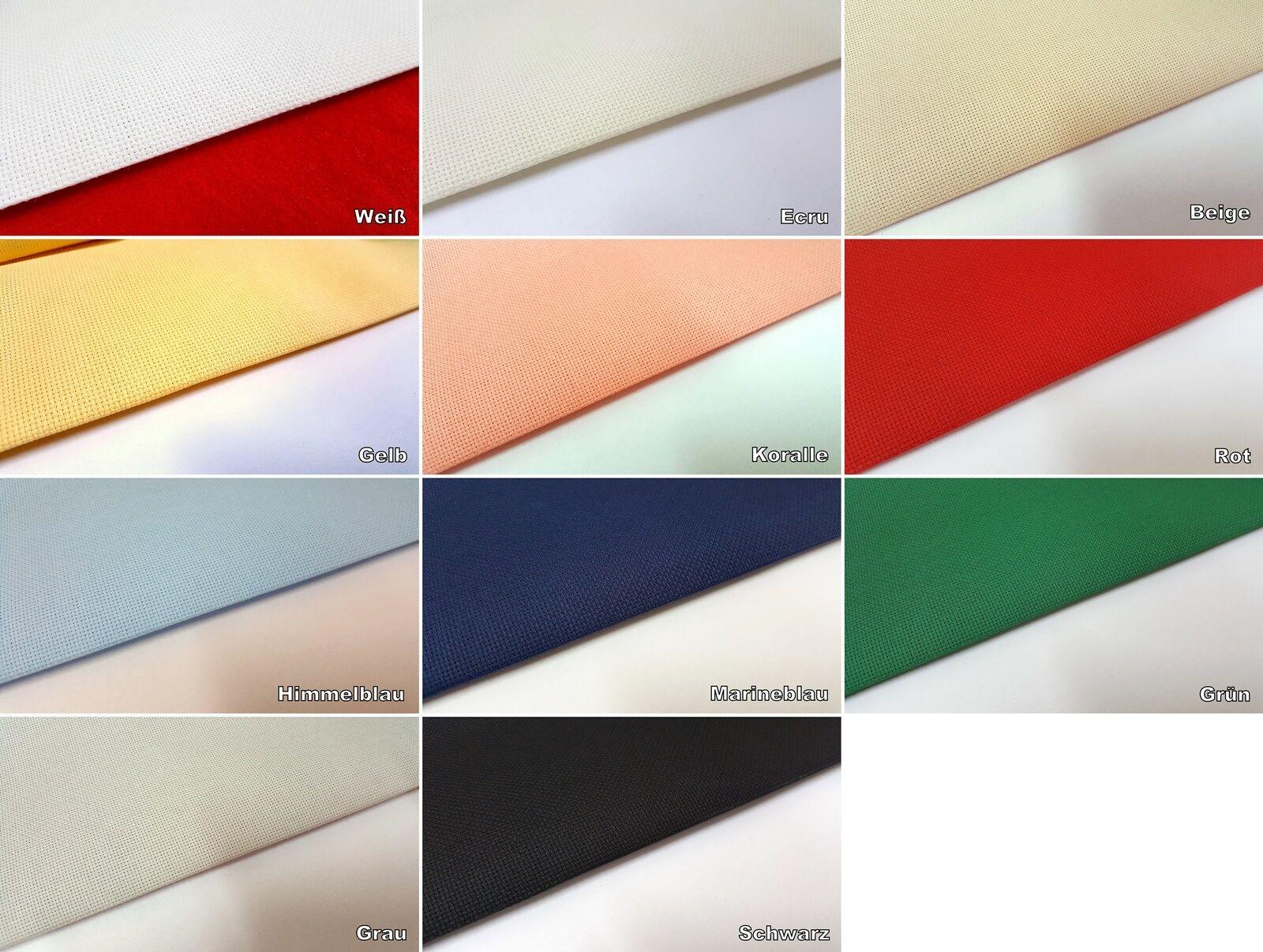 Aida Stickstoff 5,4 Stiche/cm - v. Farben Zuschnitte 40/50 cm , 40/100 cm