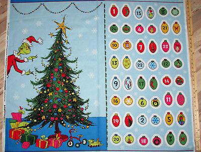 Dr Seuss How the Grinch Stole Christmas Advent Calendar Fabric Panel  #17489-223